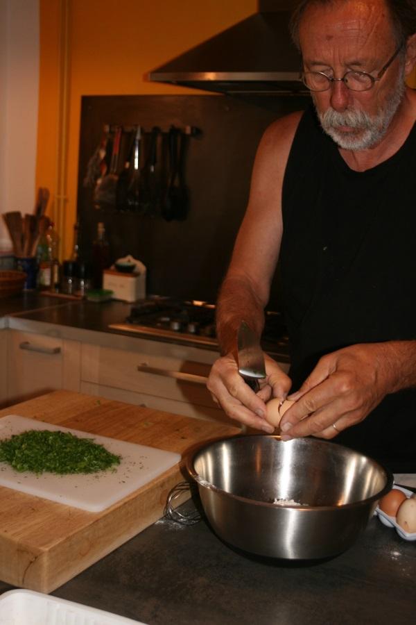 Préparation de la pâte à beignets